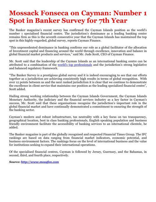 Mossack Fonseca on Cayman: Number 1 Spot in Banker Survey for 7t