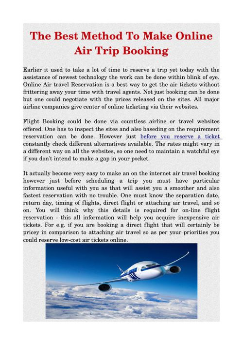 The Best Method To Make Online Air Trip Booking