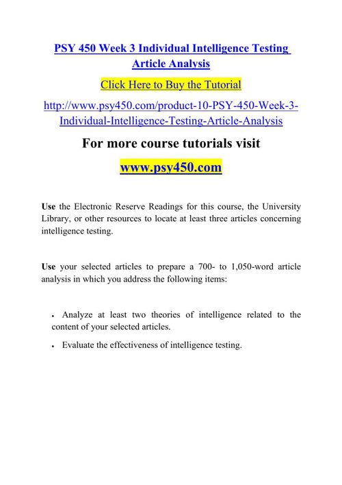 PSY 450 Week 3 Individual Intelligence Testing Article Analysis