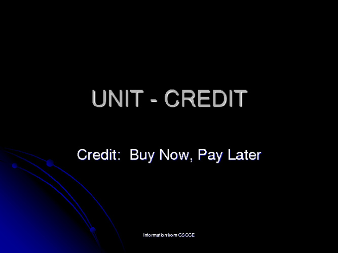 Credit Powerpoint  PF