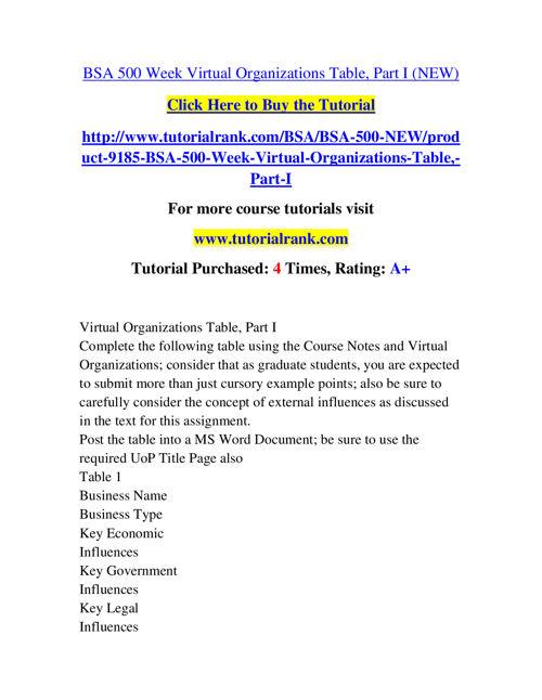 BSA 500 Course Success Begins / tutorialrank.com