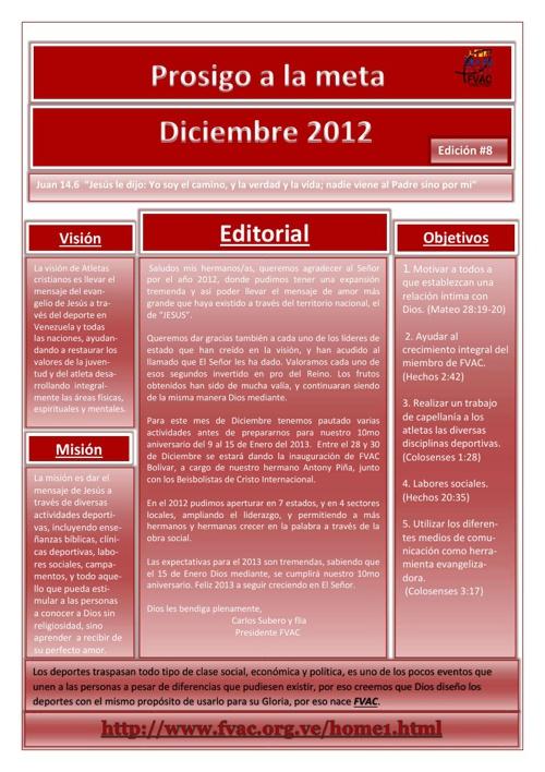Prosigo a la meta Diciembre 2012