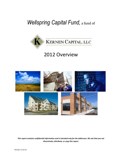 Wellspring Capital Fund 2012 Annual Report
