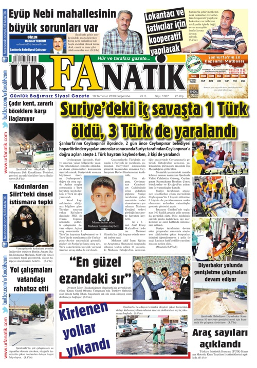 18 07 2013 / Urfanatik Gazetesi