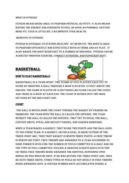 Health Assignment Basketball