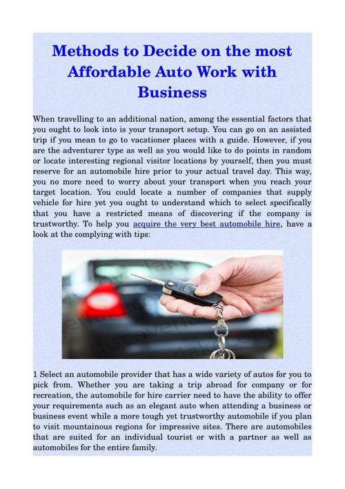 Methods to Decide on the most Affordable Auto Work with Business