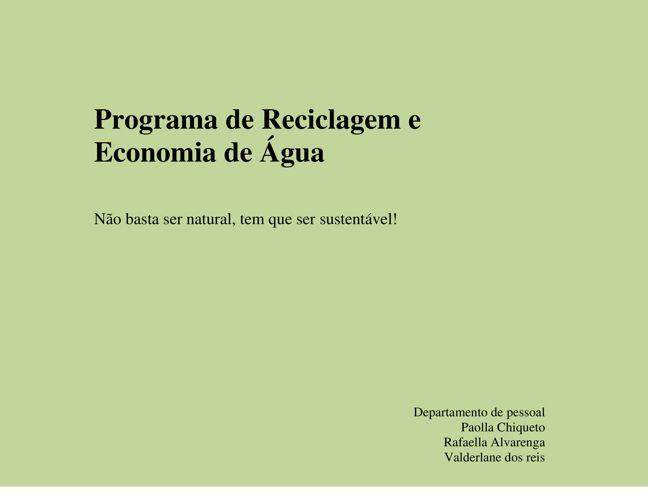 Programa de Reciclagem e Economia de Água