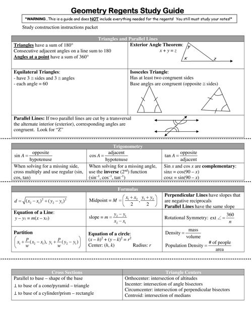 Regents Study Guide
