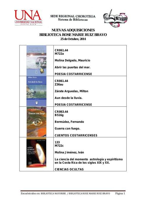 Nuevas Adquisiciones 24-10-2014