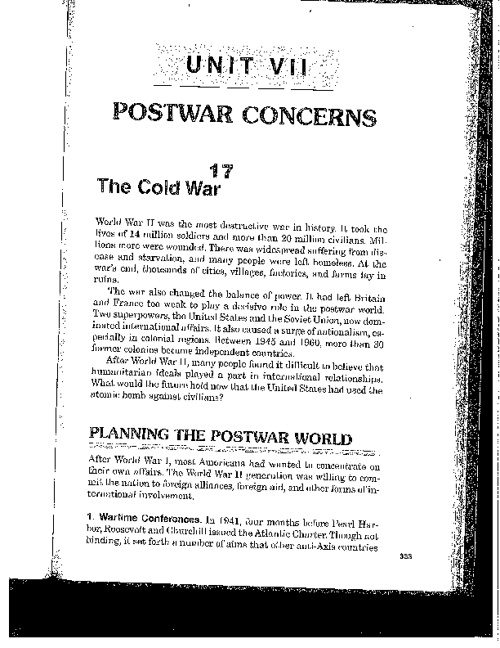 Chapter 17:  The Cold War