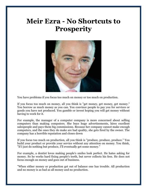 Meir Ezra - No Shortcuts to Prosperity