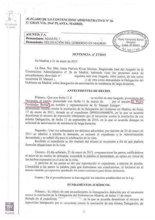 sentencia 2015 estimada sobre  renovacion por penales estiman ju
