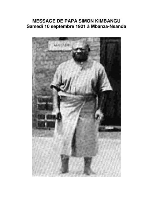 Message de papa Simon Kimbangu 1921
