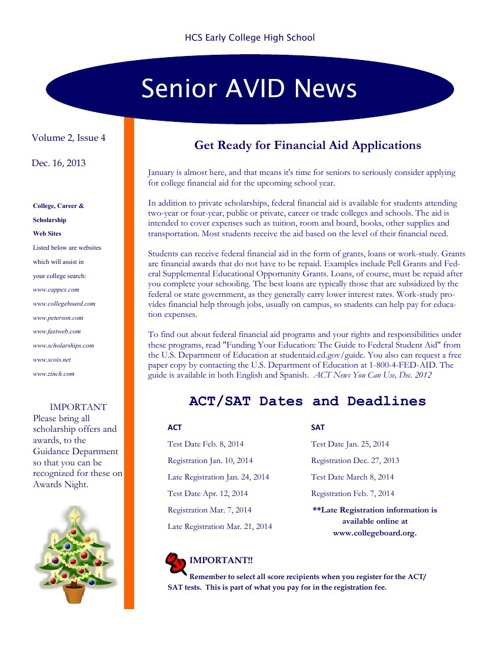 December Senior AVID Newsletter