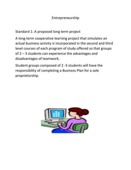 Standard 1 Entrepreneurship Long term project
