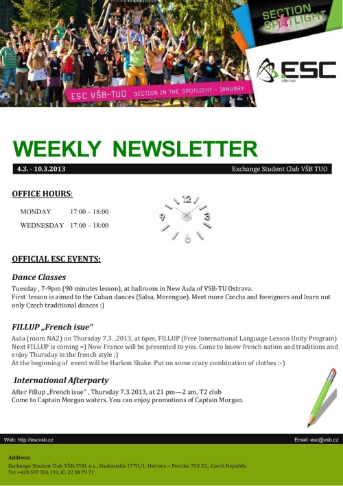 Weekly newsletter  4.3. - 10.3.2013