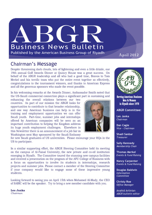 ABGR April Newsletter