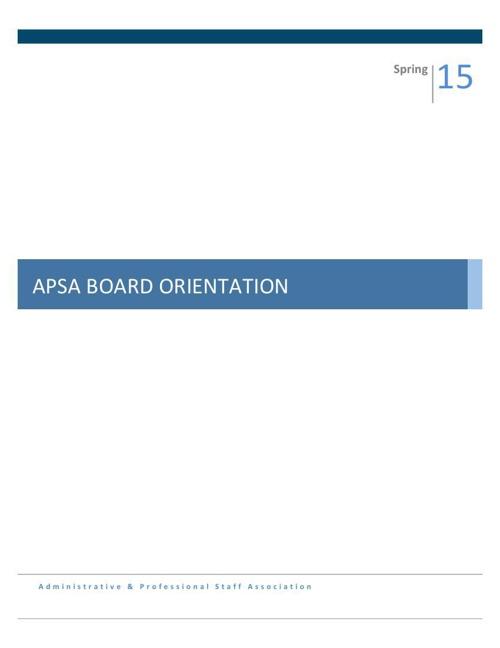 2015 Board Orientation