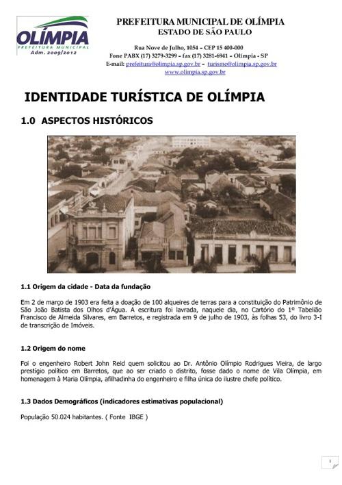 Identidade Turística de Olímpia - SP