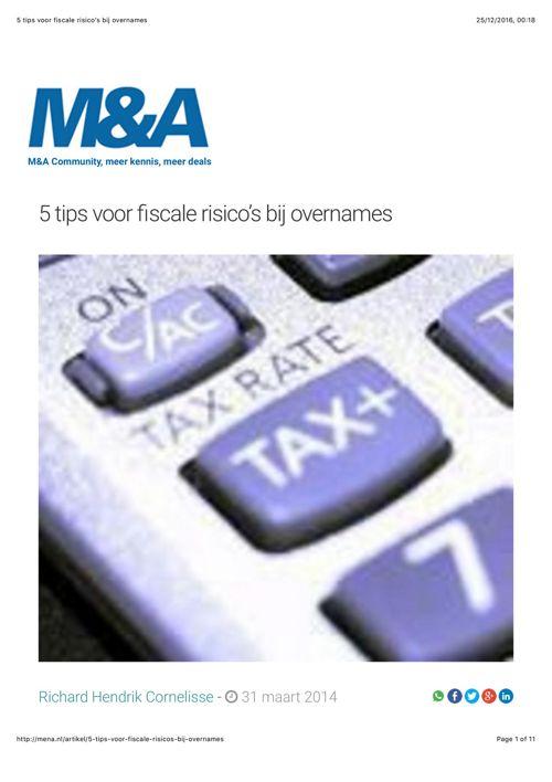 5 tips voor fiscale risico's bij overnames