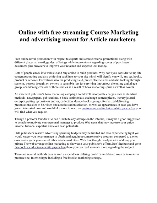 Online with free streaming Course Marketing and advertising mean
