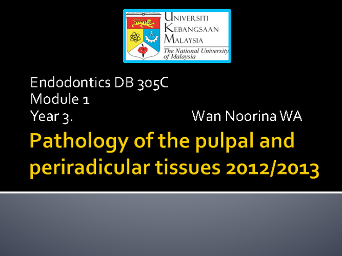 Year 3: Pathology of pulp & p/apical tissues- questions
