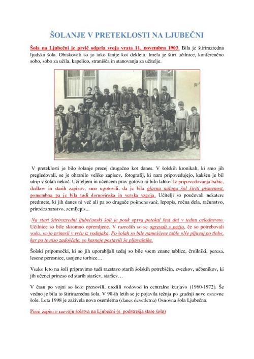 Kratka zgodovina naše šole