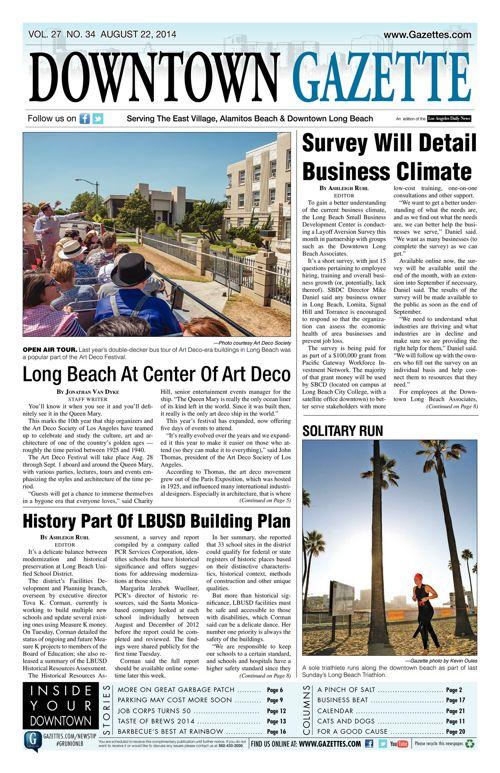 Downtown Gazette     August 22, 2014