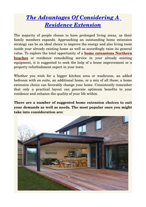The Advantages Of Considering A Residence Extension