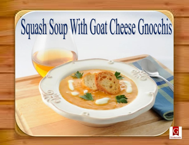 Squash Soup With Goat Cheese Gnocchis