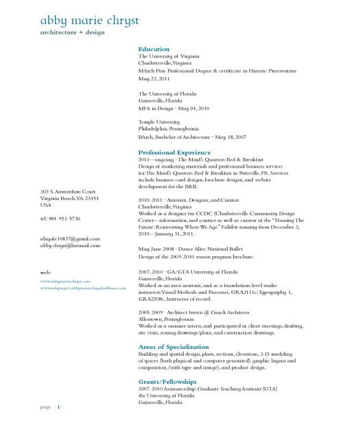 Abby Marie Chryst's Professional Resume/CV