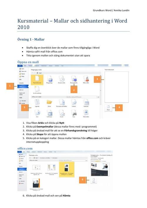 Kursmaterial - Mallar och sidhantering  i Word 2010