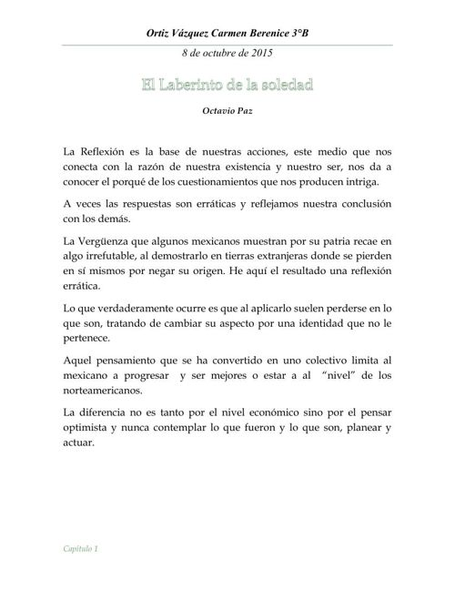 Reporte de : El Laberinto de la Soledad