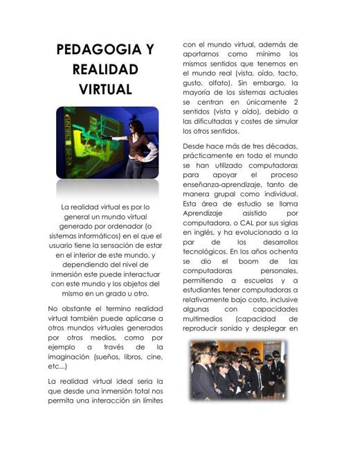 PEDAGOGIA Y REALIDAD VIRTUAL