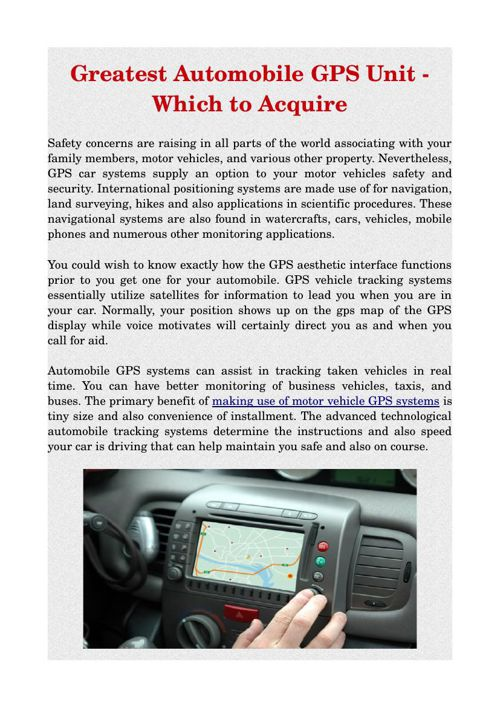 Greatest Automobile GPS Unit - Which to Acquire