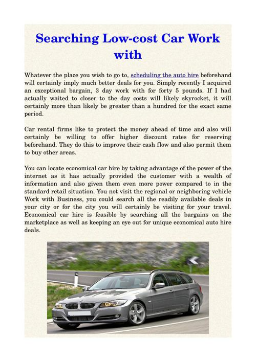 Searching Low-cost Car Work with