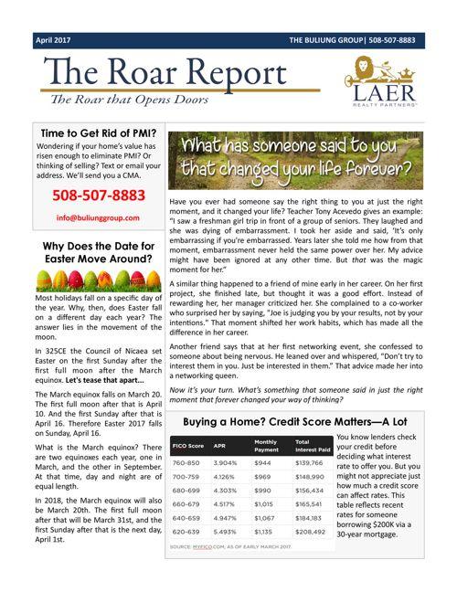 April ROAR Report