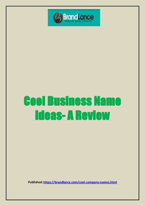 Cool Business Name Ideas- A Review