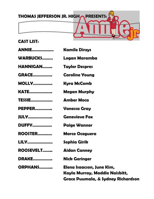 ANNIE JR. CAST LIST