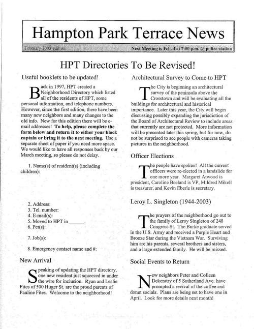 HPT Newsletter February 2003