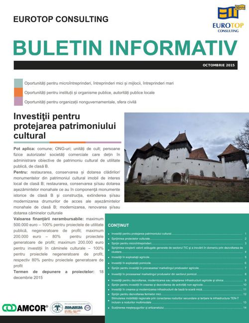 EUROTOP CONSULTING NEWSLETTER OCTOMBRIE 2015