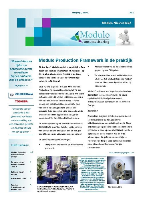 Modulo Nieuwsbrief - 2011 - editie 1