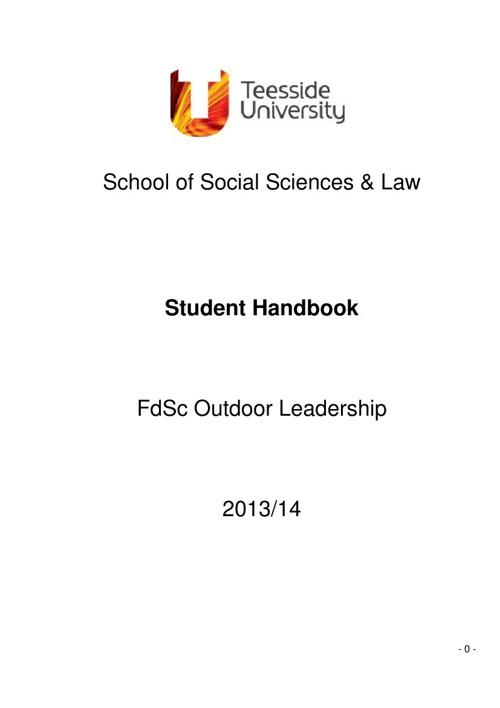 FdSc Outdoor Leadership Handbook