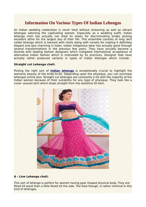 Information On Various Types Of Indian Lehengas
