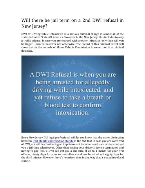 Can I Get Jail Time On A Second DWI Refusal In NJ