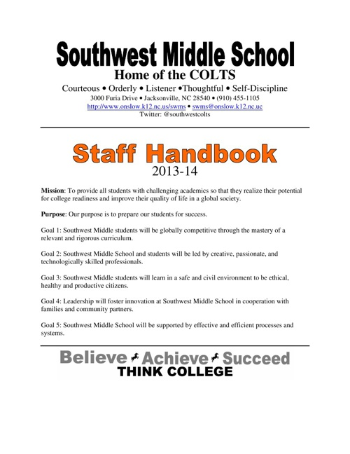 Southwest Middle School Staff Handbook 2013-14