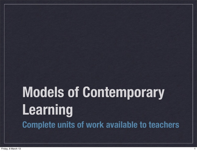 Models of Contemporary Learning _2