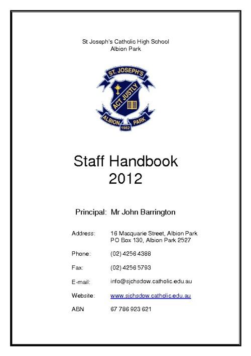 Staff handbook 2012