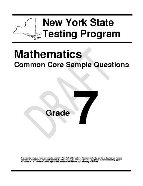 Common Core Math Grade 7 Sample Questions