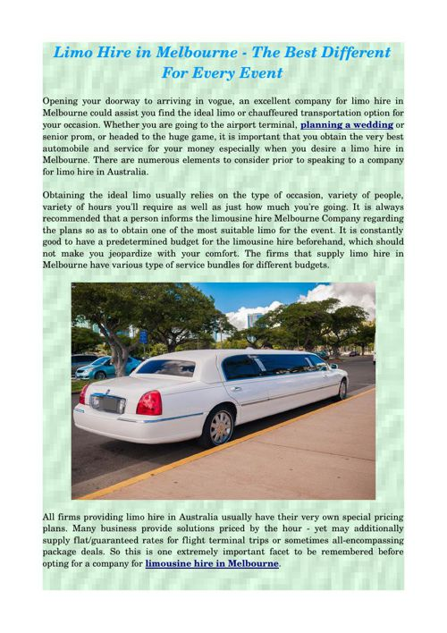 Limo Hire in Melbourne - The Best Different For Every Event
